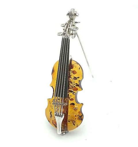 Silver brooch violin