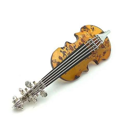 Broche plata violín