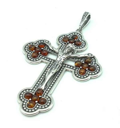 Silver cross pendant and amber