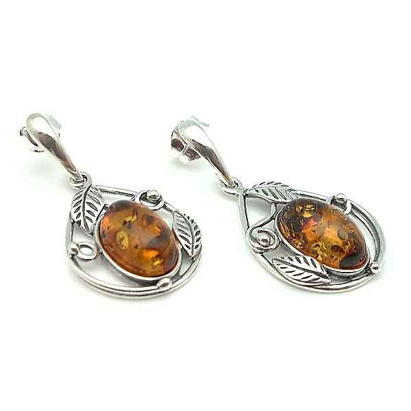 Silver and amber earrings