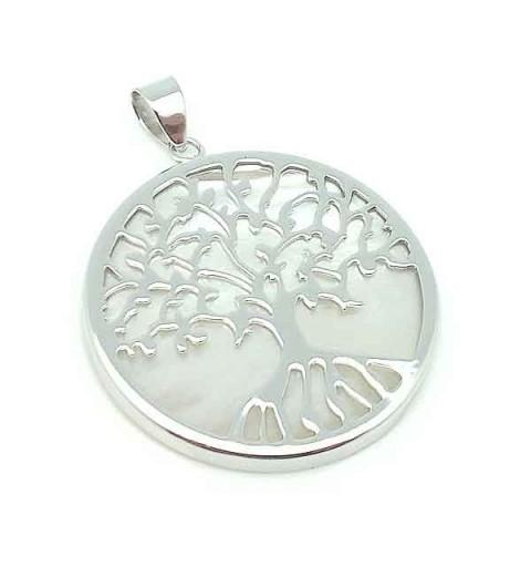 White pearl pendant life tree