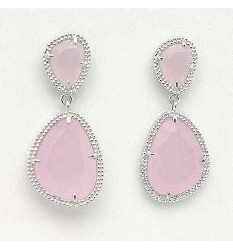 Pendientes plata cuarzo rosa
