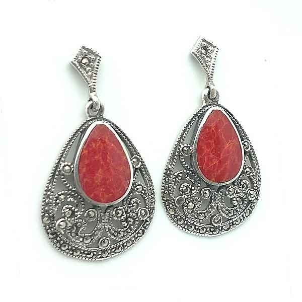 Silver earrings, coral and marcasite