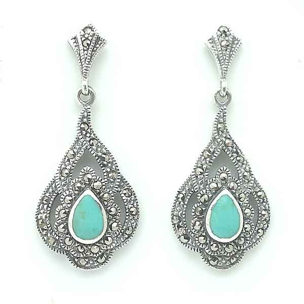 Silver earrings, turquoise and marcasites