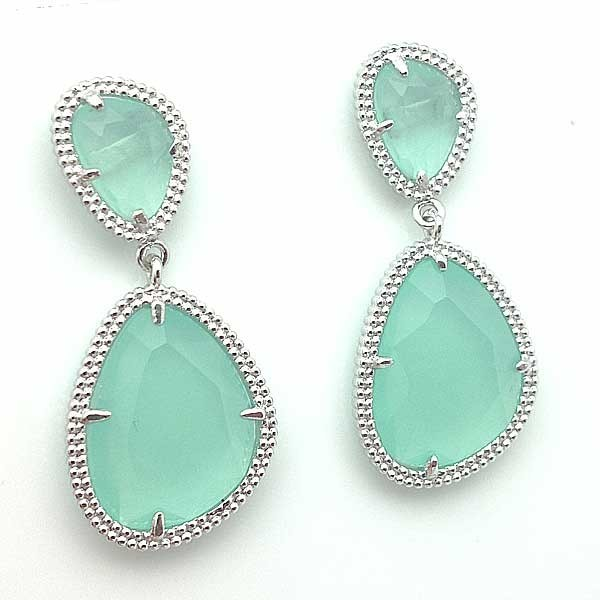 Silver earrings, light green