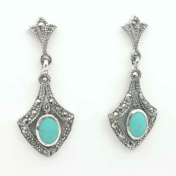 Earrings silver and turquoise marquises