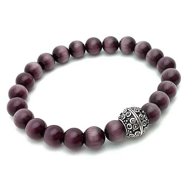 Elastic bracelet purple cat eye