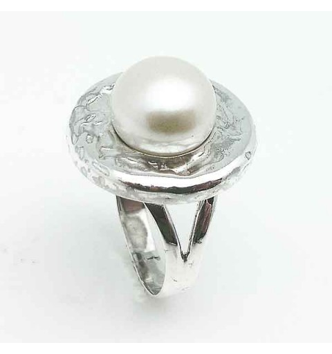 Anillo plata y perla cultivada