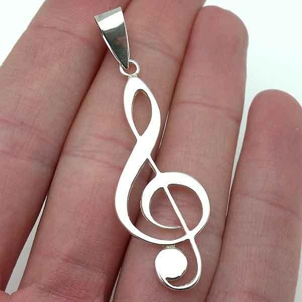 Silver pendant, treble clef