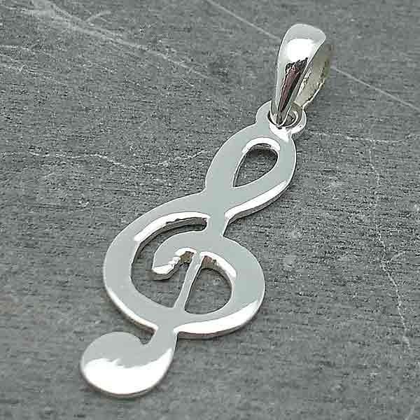Colgante clave de sol en plata