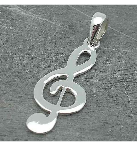 Treble clef pendant, in silver.