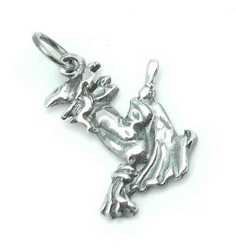 Witch pendant, sterling silver