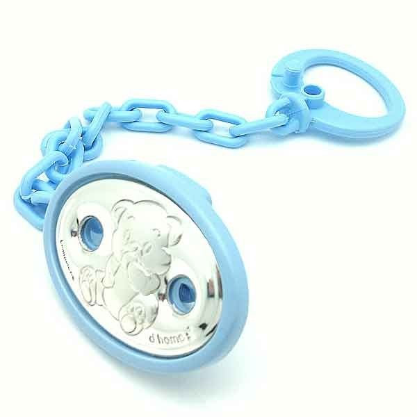 Holds blue pacifier
