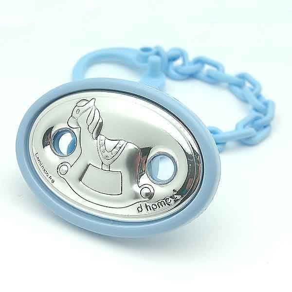 Blue pacifier clip with horse