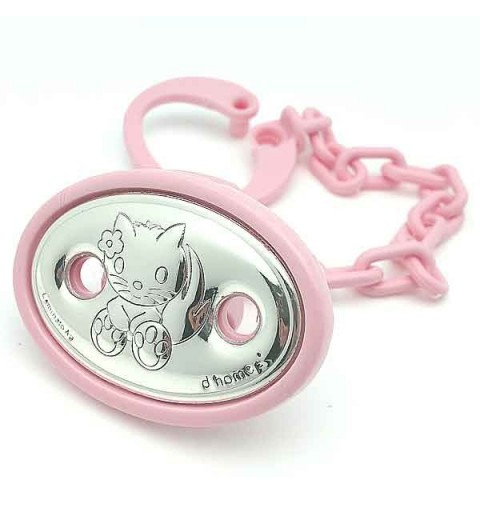 Holds pacifiers pink kitten.