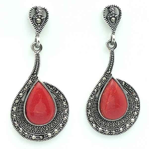 Silver earrings, coral and marcasitas